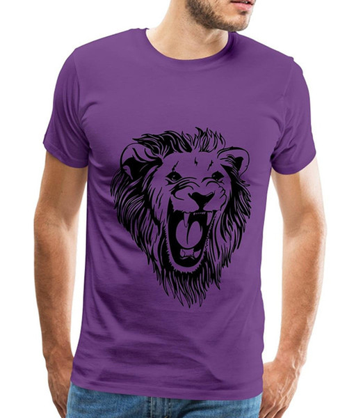 Adult Slim Fit T Shirt S-Xxl Short Sleeve Men Fashion Crew Neck Lion - Male Face Roaring T Shirts