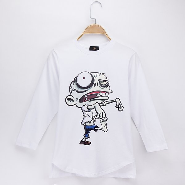 2018 New Arrival Kids Clothes Children T-shirt Zombie 100% Cotton White O-Neck Full Boy Long Sleeve T Shirts Baby Clothing Girl Tops Tee