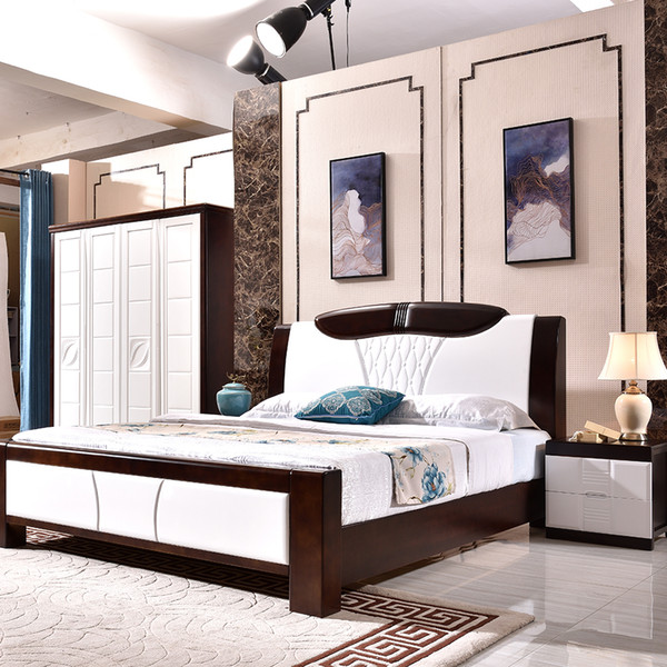 Import Modern Simple Master bedroom Pressed Pine Slats Easy assembly Handmade Double bed Rubber solid wood home Standard Solid Wood Bed