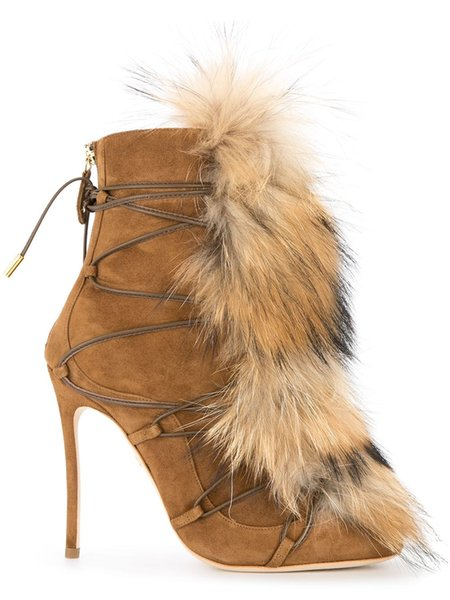 Brown Color Fur Women Winter Warm Boots Front Lace Up Shoes High Heel Short Booties Luxury Brand Super Star Snow Boots