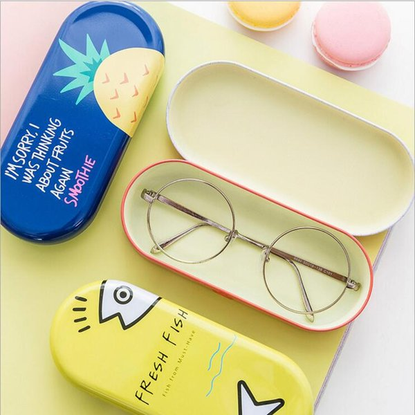 Kawaii Iron Tin Boxes Glasses Case Cartoon Storage Box Organizer For Jewelry Eyewear Spectacles Container Cover YYA975