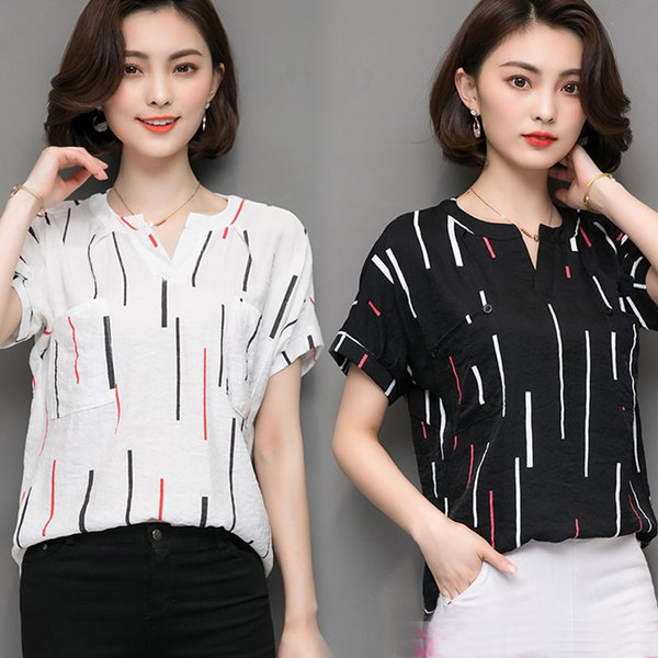 M- 5XL plus size shirts woman summer short sleeve casual loose blouse female tops striped shirts white black blouses big size