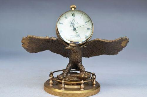 UPSCALE CHINA HAND ENGRAVING BRASS EAGLE CLOCK>>>Free shipping