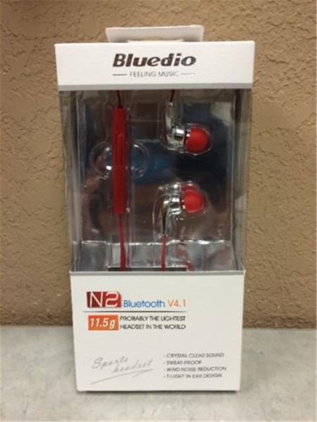 Original Bluedio N2 Auricular Bluetooth V4.1 Auricular HIFI Deportes inalámbricos Auriculares Estéreo Prueba de sudor Micrófono incorporado Manos libres VS SE215 Negro