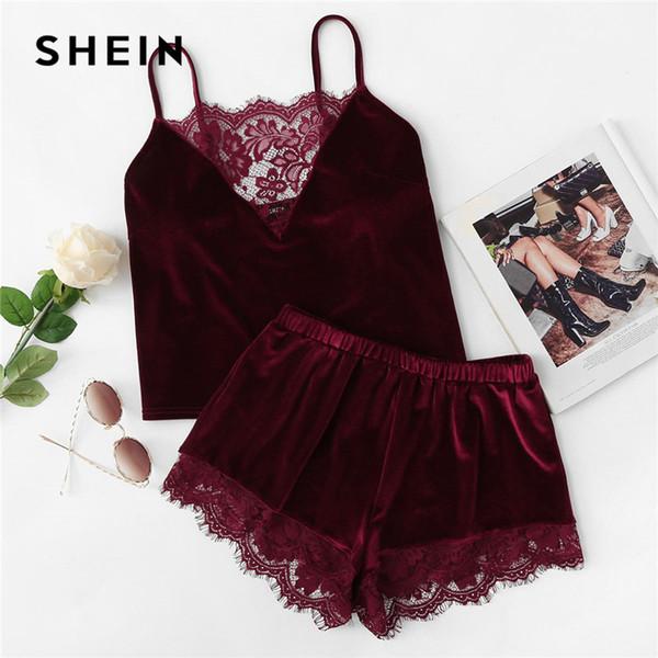 SHEIN 2018 Lace Trim Velvet Cami & Shorts Pajamas Set Women Burgundy Plain Spaghetti Strap Sleeveless Sexy Summer Sleepwear