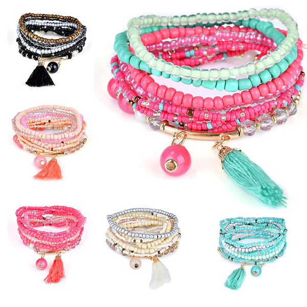 Braccialetti per le donne di Boho Style Star Charm Braccialetti per le donne Boho Tassel multistrato simulato perla braccialetto gioielli partito regalo nave di goccia 320118