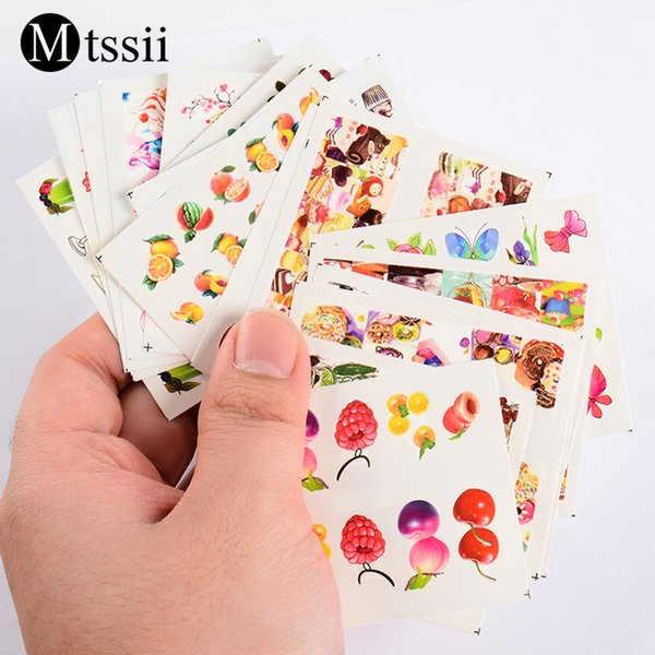 Mtssii 16 Pcs Nail Art Sticker Fruit Ice Cream Cartoon Design Water Transfer Decals Slider Mixed Manicure Nail Decoration Tips