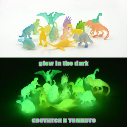 16 pcs/pack 2 inch Mini Jurassic Noctilucent Dinosaur Toy Glow In The Dark Dinosaurs Action Figures Toys Novelty Items CCA10543 288set