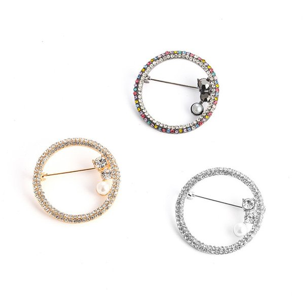 Europe and the United States jewelry set drill circular hollowed-out scarf button brooch cross-border supply manufacturers direct