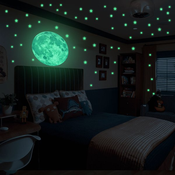 Stars Glow In The Dark Muti Pieces 2Size Luminous Stickers For Wall Window Ceiling Moon Star kids Rooms Bedroom Decoration F1215