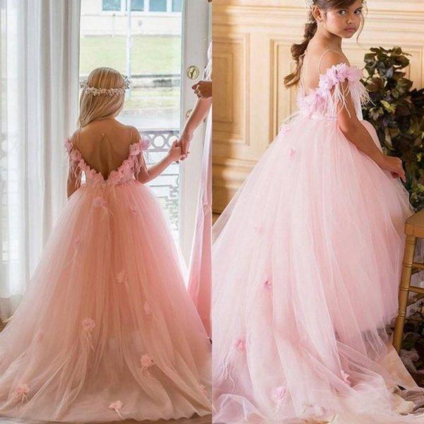 Rosa 2018 Nova Pena Vestidos Da Menina de Flor Para Casamentos 3D Floral Appliqued Little Kids Do Bebê Vestidos de Baile Baratos Longo Comunhão Vestido