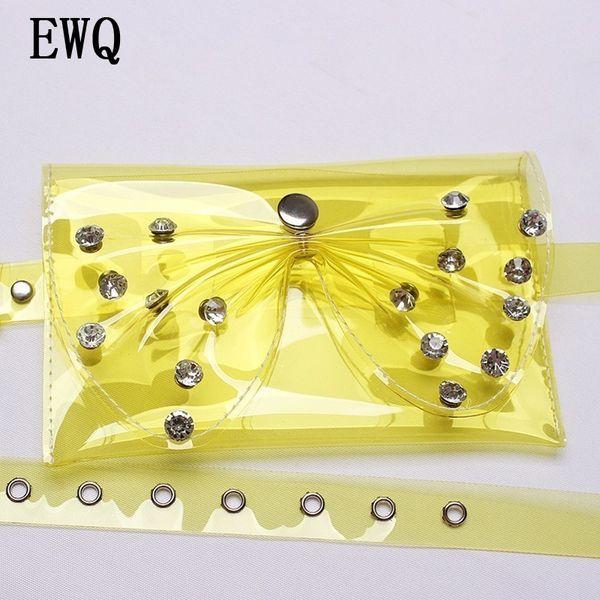 [EWQ] 2018 Summer Fashion New Rhinestone Big Bow Candy Color Buckle High Quality PVC Mini-bag Decorative Belt All-match YC558