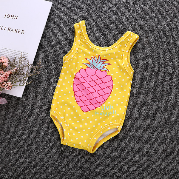 top popular Summer Kids Baby Girl Pineapple Yellow One-Pieces Swimsuit Dot Swimsuit Bathing Suit Kid Girls Clothing Beach Swimming Boutique 2021