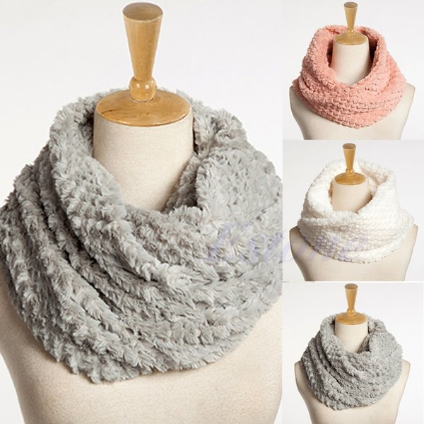 Women Faux Fur Infinity Circle Cable Cowl Neck Winter Warm Long Scarf Shawl