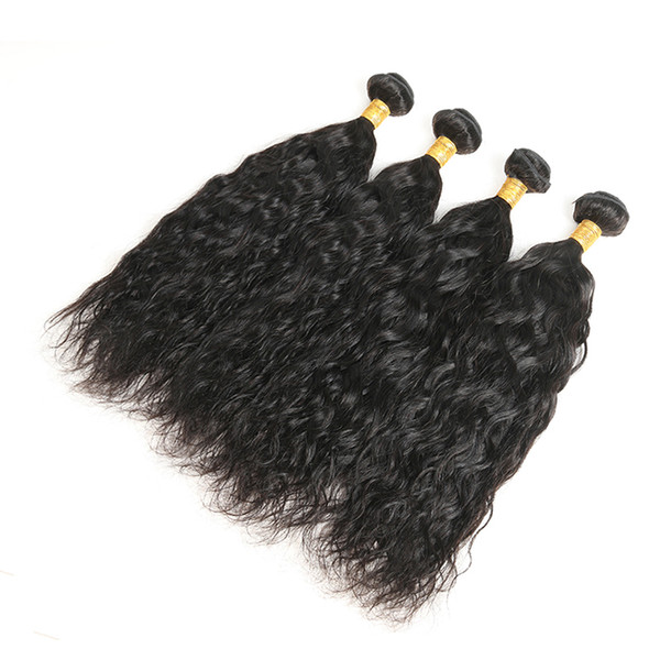 100% paquetes de cabello humano Virgin Virgin Natural Wave Extensiones de cabello Remy de onda 4PCS Real paquetes de cabello humano de color natural envío gratis