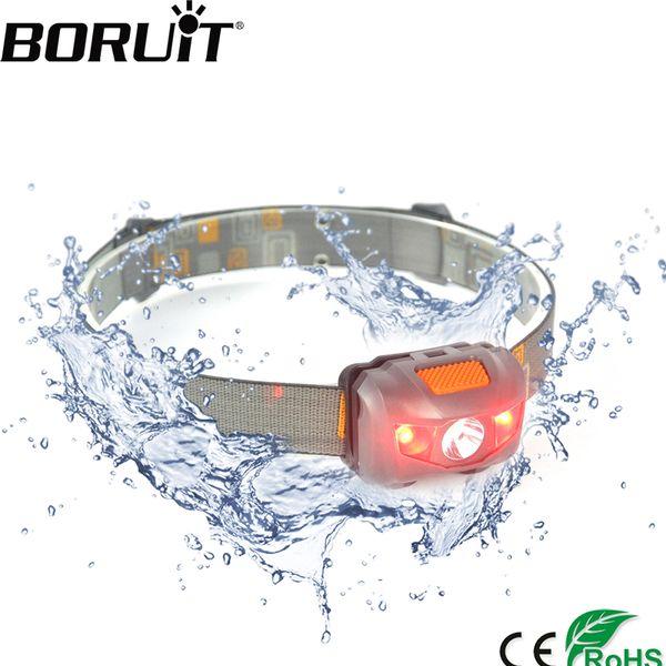 Boruit 4 -Mode White And Red Light Led Mini Headlight 3w 200lm Headlamp Waterproof Head Torch Camping Hunting Flashlight
