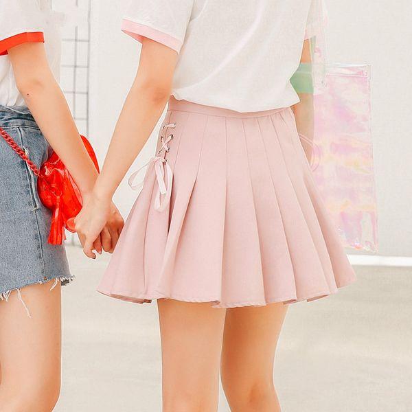 2018 mujeres coreanas nueva primavera y verano estilo universitario banda de viento arco plisado mitad rosa falda pantalones de cintura alta una palabra falda