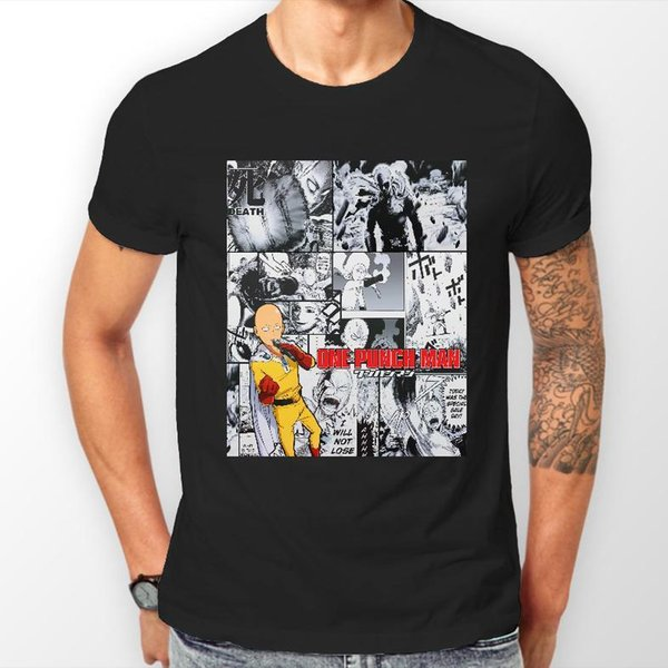 One Punch Man Манга Полоса Сайтама Аниме Мужская футболка Футболка Футболка ВСЕ РАЗМЕРЫ