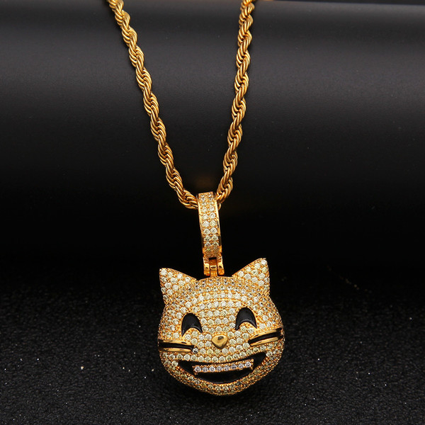 European and American trend Emoji facial expression Cat Pendant tiny zircon smile cat hip-hop Pendant