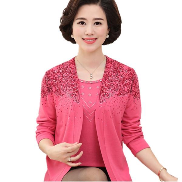 2018 Frühjahr und Herbst Mittelalter Kleidung Pullover Mutter Kleidung Wahre zweiteilige Damen Pullover im chinesischen Stil mit Bodenjacke