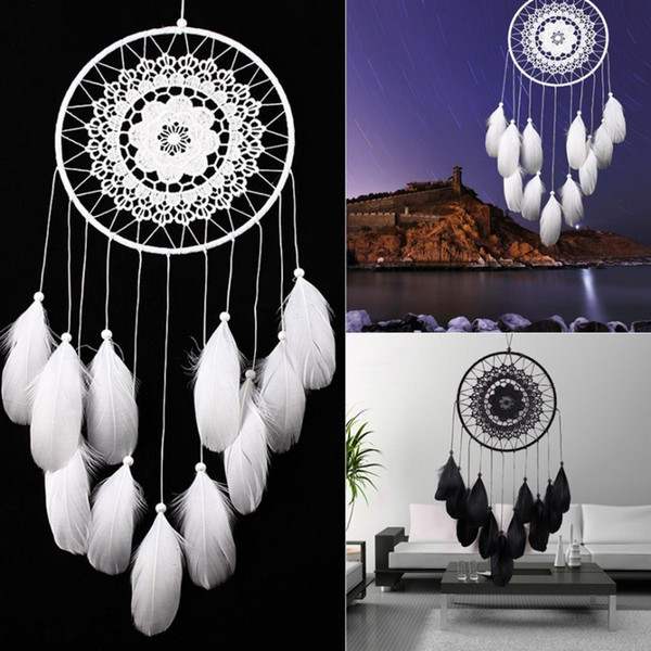 Hecho a mano blanco DreamCatcher circular con plumas colgantes decoración adorno artesanía regalo ganchillo campanas de viento Home Car Decor