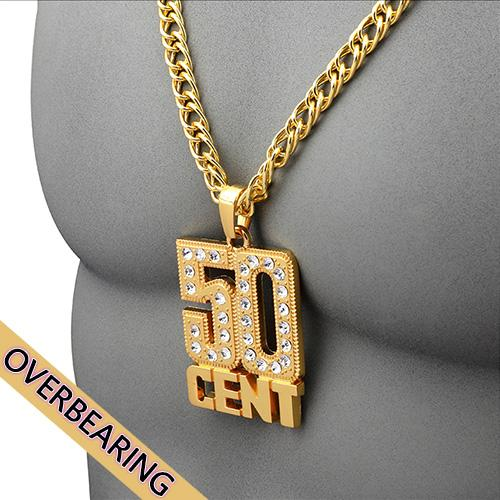 Vintage Necklace Hip-Hop Style Jewelry Rhinestone Gold Necklace High-end Jewelry 50CENT Star Souvenir Fashion Accessories Free Shipping