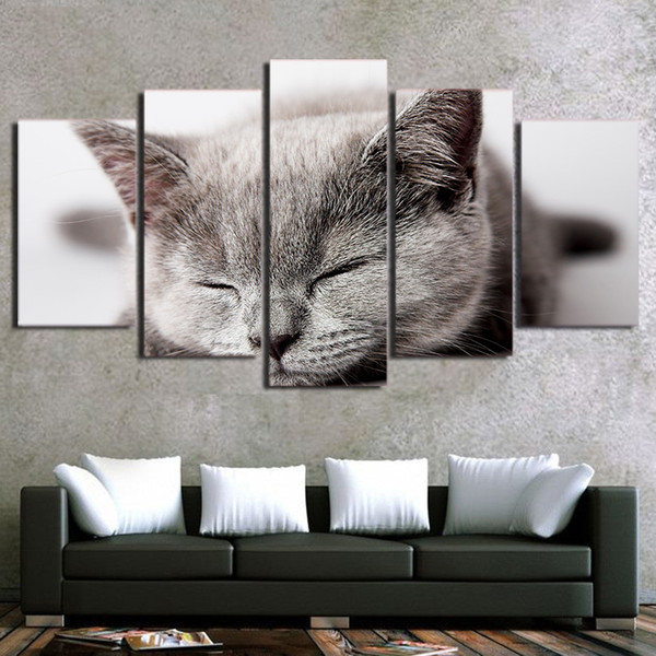 Canvas Modular Pictures Framework Wall Art 5 Pieces Sleeping Gray Cat HD Print Painting Fashion For Living Room Decoration Poster