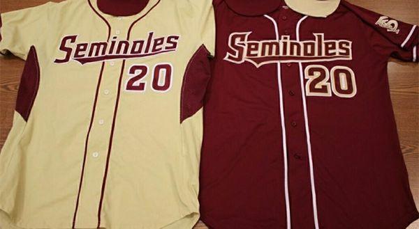 Personalizado Colegio Florida Estado Seminoles Béisbol Jerseys Buster Posey Deion Sanders Dick Howser Drew Mendoza Drew Parrish FSU Camisas