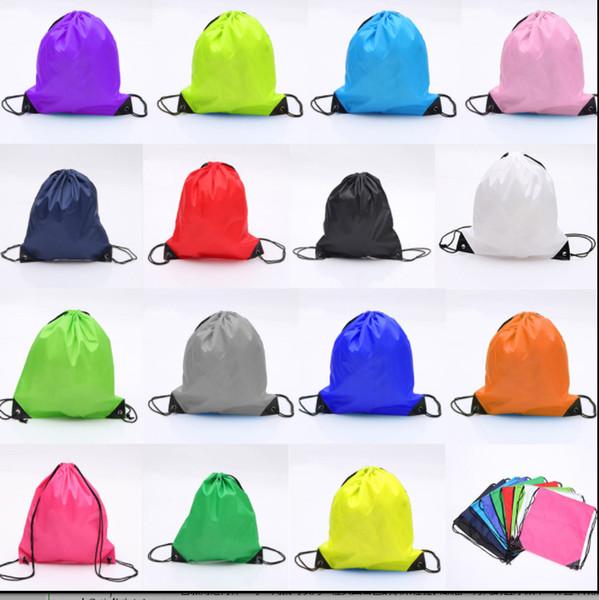 210D Polyester Nylon drawstring backpacks Custom Advertising blank plain organizer Rucksack Girls Boys Travel sports Bags kids DIY Gift bag