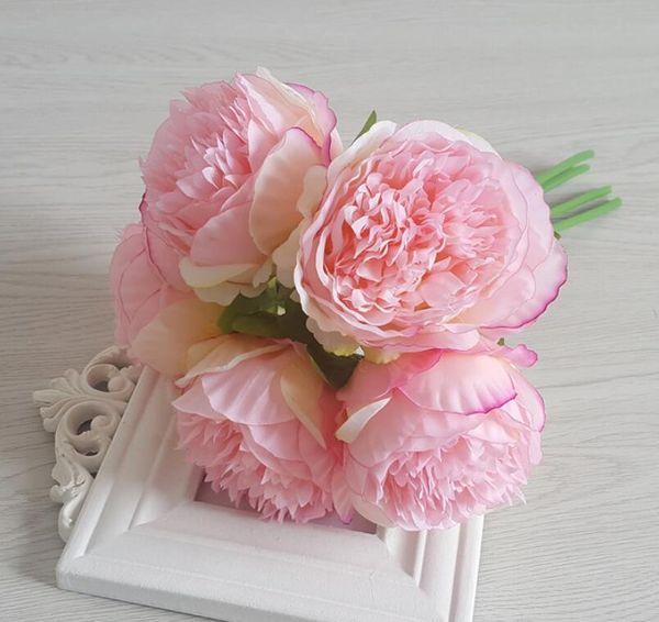 Artificial Flower Hydrangea 5 Heads Peony Bridal Bouquet Silk Flower For wedding Valentine's Day Party home DIY Decoration GA474