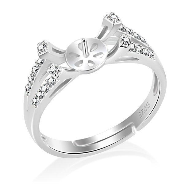 Shiny 1 Piece 925 Sterling Silver Adjustable Ring Mounting with Zircons, DIY Jewellery Making Pearl Mount