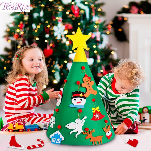 FENGRISE Felt DIY Craft Christmas Tree Ornaments 3D Artificial Christmas Tree Toddler Xmas Gifts For Kids Navidad New Year