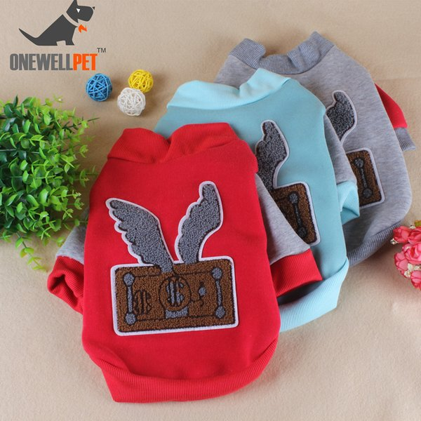 Three Colors Optional Onewellpet Brand With Angel Pattern Plush No Hoodie Sweater For French Bulldog Teddy And Other Pet Dogs