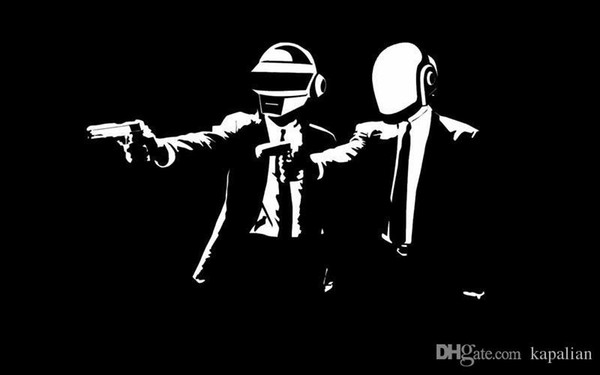 Free Shipping Daft Punk DJ Music In Pulp Fiction Black Background Music High Quality Art Posters Print Photo paper 16 24 36 47 inches