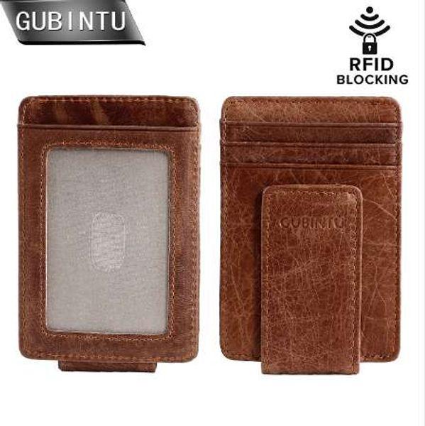 GUBINTU Magnetic Money Clip Front Pocket Wallet Slim Genuine Leather RFID Blocking Strong Magnet thin Wallets and Purse