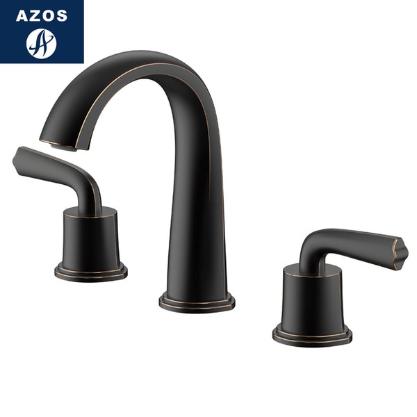 wholesale Split FaucetSoft Basin Brass Black Cold and Hot Switch Bathroom Bathing Shower Room Double Handle Three Holes Round MPSK05