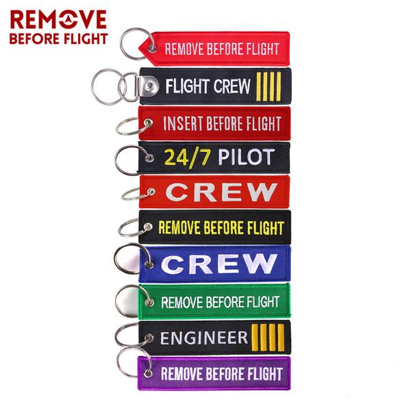 Uçuştan Önce OEM Anahtarlıklar Berloques Kırmızı Nakış Vurgulamak Anahtarlıklar Zincirler Takı Havacılık Hediyeler Chaveiro Masculino