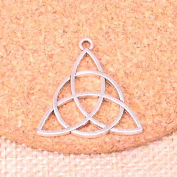 55pcs Antique silver knot amulet Charms Pendant Fit Bracelets Necklace DIY Metal Jewelry Making 28mm