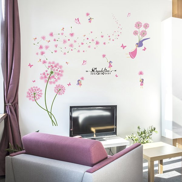 ecoration for living [SHIJUEHEZI] Pink Dandelion Wall Stickers Flower Angel Wall Decals Vinyl DIY Home Decor for Living Kids Room Decor...
