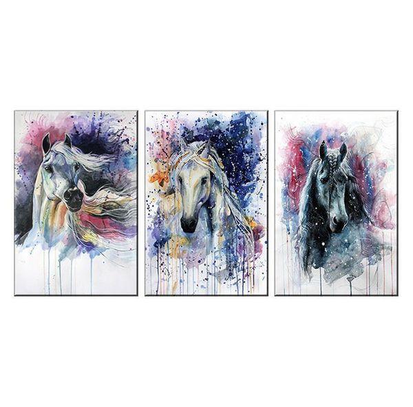 Fairy Horses, 3 Pieces Toile Art mural Peinture à l'huile, décoration pour la maison (sans cadre / encadrée)