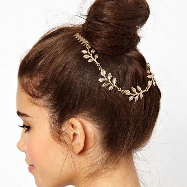 Europe and The United States Foreign Trade Jewelry Wholesale Golden Leaves Combs Hair Accessories with Double Comb Hairwear