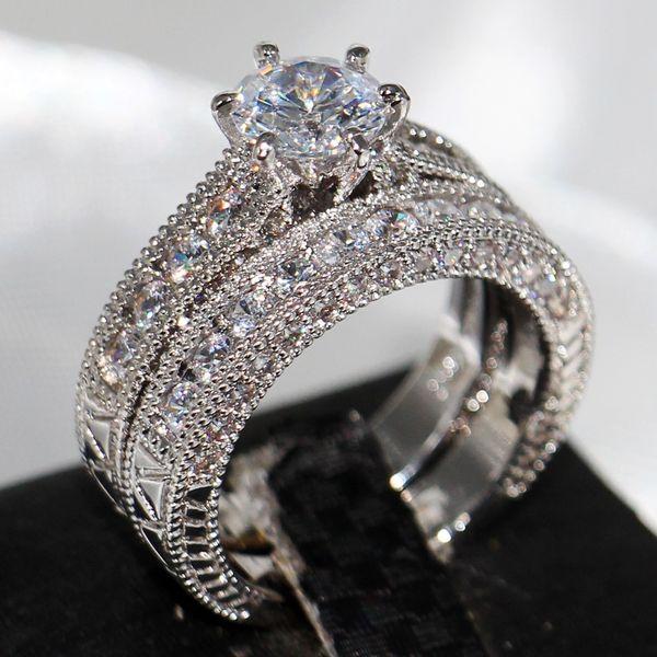 Vecalon Fashion New Arrival Retro Jewelry 14KT White Gold Filled Round Cut Topaz Gemstones CZ Crystal Enternity Bridal Couple Ring Set Gift