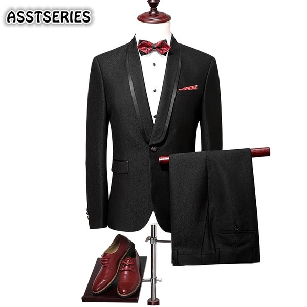 England Style Men Suit Fashion New Black Single Breasted Party Prom Tuxedo Suit Hight Quality Slim Fit Men Suits For Wedding