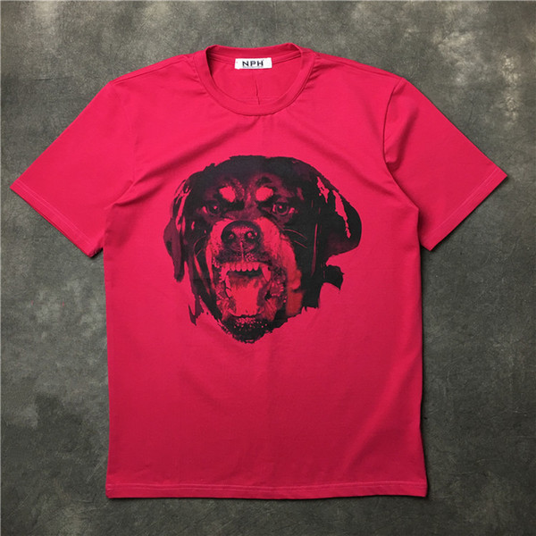 2018 summer hot sell fashion brand high-end cotton round neck short sleeve t shirt men Casual pink 3D dog hunter printing T-Shirts