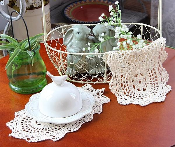 Wholesale- Oval 15*25cm Modern beige dining table mat crochet mug cup coaster for table place mat pad felt baby placemat home kitchen