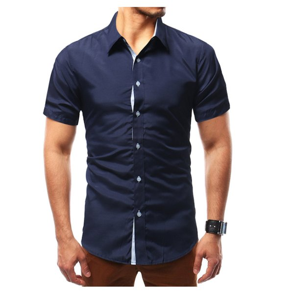 2018 New Fashion Brand Men Shirt Printing Dress Shirt Short Sleeve Slim Fit Camisa Masculina Casual Male Shirts Model 4XL 59