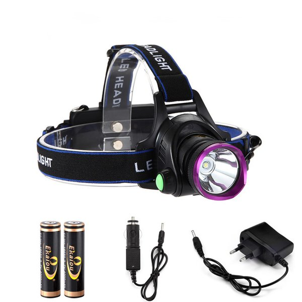LED Headlamps 1800 Lumens XM-L XML T6 LED Headlight Flashlight Head Lamp Light 18650 + Direct Charger for Hunting Camping