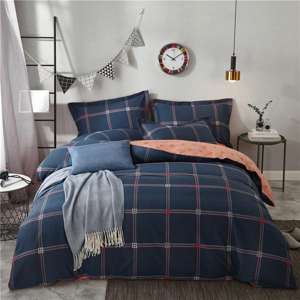 New 100% Cotton plaid Fashion Bedding Bed Linen Bed Sheet Duvet Cover Pillowcase 4pcs Bedding Sets/Queen/king