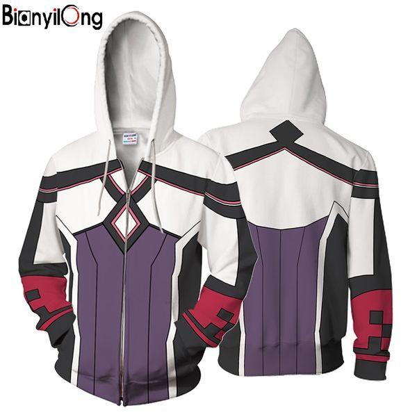 2018 new 3D Sword Art Series printe Hoodies Casual Sportswear Yuna Hoody Zipper Man women 3D Printed Sweatshirt Pullover tops