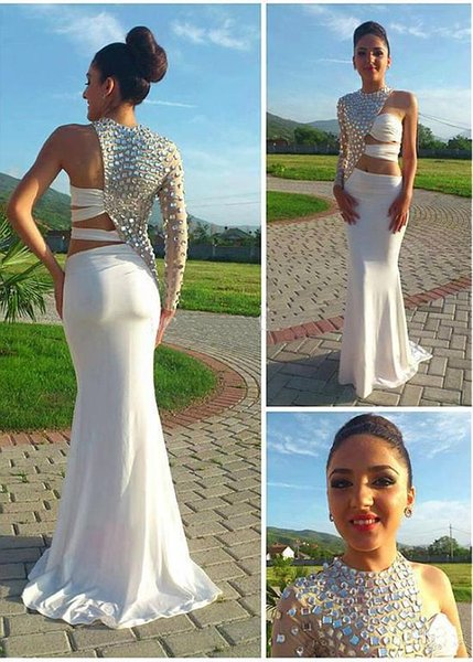 Brilliant Jewel Neckline Sheath / Column Evening Dresses With Crystal Floor Length One Shoulder Sexy Evening Gowns